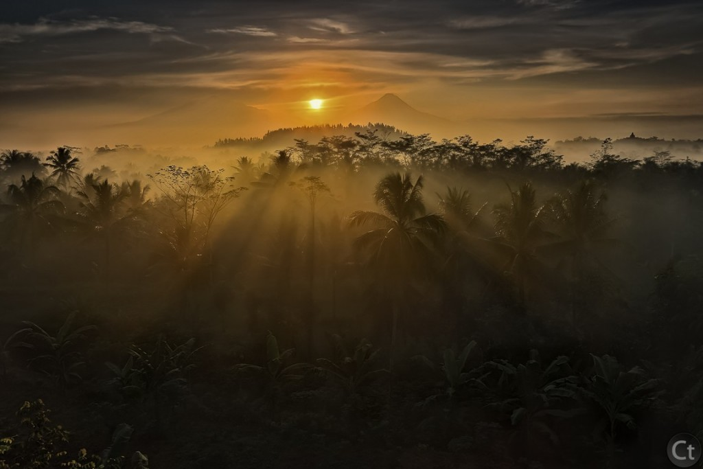 Ray of lights, Mount Merapi and Mount Merbabu, Central Java